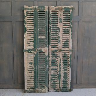 Pair of Distressed Green Painted European Louvre Shutter Doors
