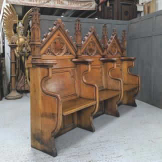 Gothic Masterpiece Victorian Oak Choir Sedilia Church Pew