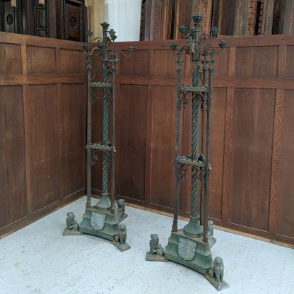 Outsize Gothic Victorian Church Brass & Iron Torcheres Pavement Candleholders