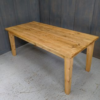 Bespoke Taper Leg Old Pine Antique Finish Plank Table