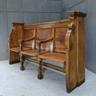 Scrolled Regency Style Antique Oak Misericord Church Choir Pew