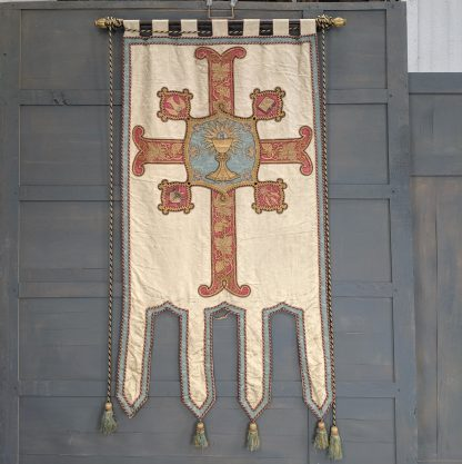 Large Ceremonial Antique Silk Display Banner Showing Sacred Chalice