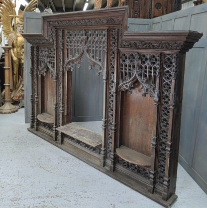 Fantastic Gothic Ultra Intricate Carved Oak Reredos Panelling from 1909