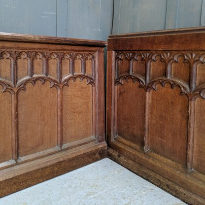 Nearly-the-Same Pair of Long Victorian Gothic Oak Arcaded Panels Panelling #1 & 2