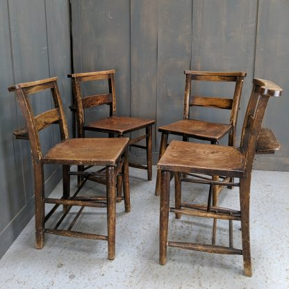 Set of 4 Old Antique Square Seat Shelf Rack Church Chapel Chairs