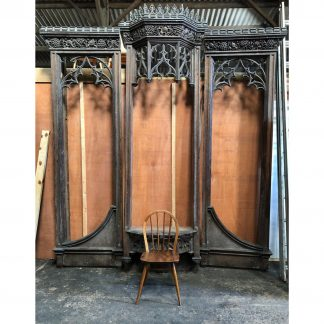 Giant Oak Elaborate Antique Carved Gothic Organ Case Run of Panelling