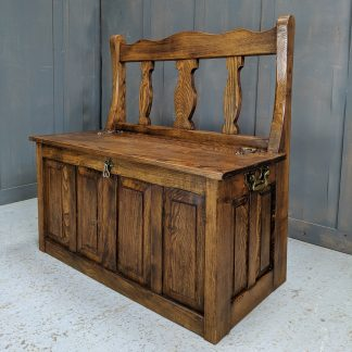 Solid Elm Splat Back Monks Bench Storage Pew Settle with Carry Handles