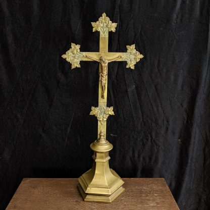 Early 1900's Antique 4kg Church Altar Bronze & Brass 'Ivy' Crucifix