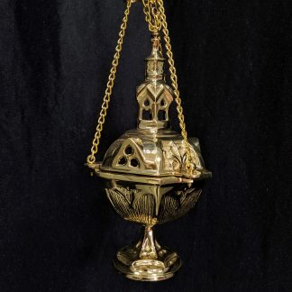 Heavy Old English Style Solid Brass Thurible Censer Incense Burner with Steeple