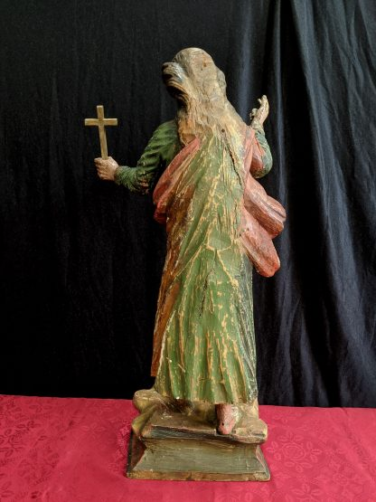 17th Century Portuguese Polychrome Carved Wooden Female Saint Statue