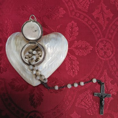 Fantastic Mother of Pearl Set of Rosary Beads in Heart Shaped Box