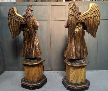 Very Large Carved Flamboyant Polychrome Portuguese Antique Male Angels with Full Wings