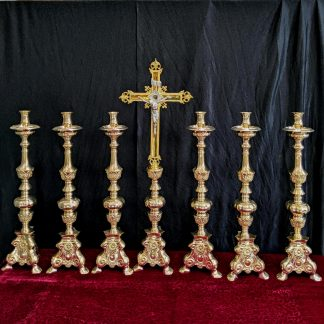 Classic Heavy Brass Large Size 'Big Six' Set of Candlesticks & Crucifix