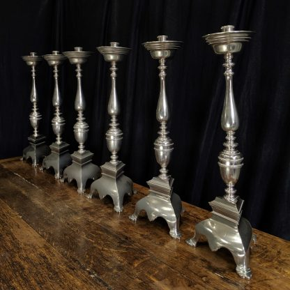 Original Antique English Georgian Style Silver Plated 'Big Six' Set of Altar Candlesticks (G)