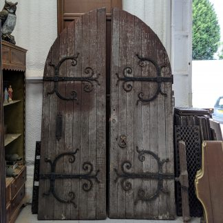 Very Large Pair Arched Oak Faced Fancy Strapwork Church Main Doors with Frame