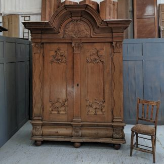 Giant Carved Oak Antique Danish Armoire 'Shrank'
