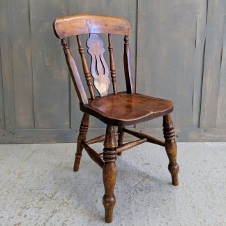 Beautiful Victorian Lyre Back Elm & Beech Kitchen Chairs from Stockport