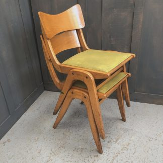 Super Stylish 1962 Vintage Ply & Vinyl Yellow Stacking Chairs