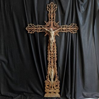 Very Large & Imposing Antique French Cast Iron Crucifix with Praying Angel
