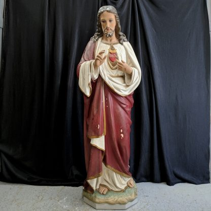 Lifesize Antique Statue of Christ the Sacred Heart by 'The Religious Statues' Company Paris
