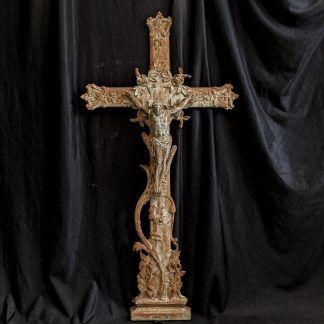 Large Antique French Extra Heavy Cast Iron Crucifix with Larger Corpus, Roses & Sheafs of Corn