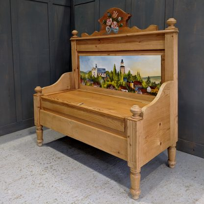 South German Handpainted Pine Monks Bench