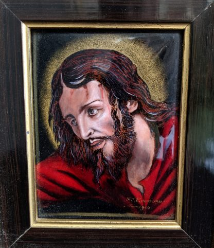 Vintage Framed Limoges Enamel Plaque of the Passion of Christ by FJ Carmona