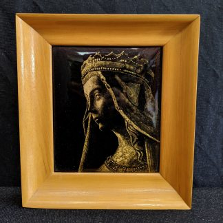 Vintage Framed Limoges Style Enamel of Medieval Virgin Mary from the Abbey of St Martin