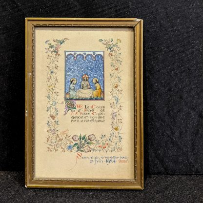 Exquisite Original Framed Watercolour Depicting Eucharist with Christ & Disciples