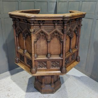 Spectacular Antique Oak Victorian Church Pulpit from Christ Church, Ware