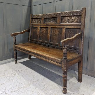 Antique Old English Oak Three Seater Highback Settle Dated 1703