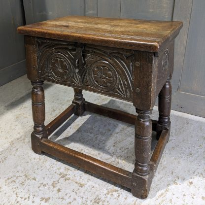 Antique Oak Bible Box Stool in the Tudor Style with Bible