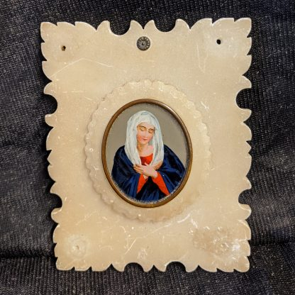 Handpainted Miniature of Blessed Virgin Mary in Alabaster Frame