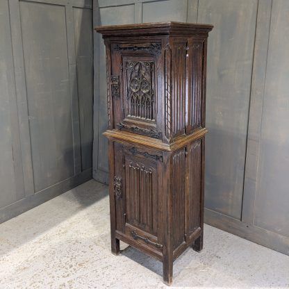 Highly Detailed Antique Oak Gothic Revial Two-Tier Vestry Cupboard