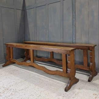 Pair of Vintage Narrow Oak Benches / Rails