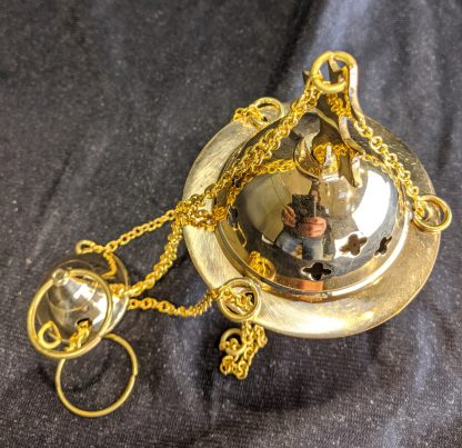 Miniature Brass Dome & Cross Top Incense Burner Censer Thurible