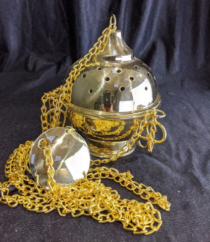Solid Brass Full Size Classic 'Ball' Incense Burner Censer Thurible