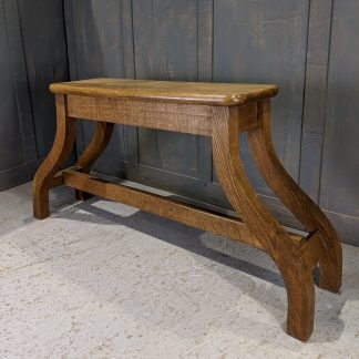 Curved Work-of-Art Vintage Oak Organ Bench