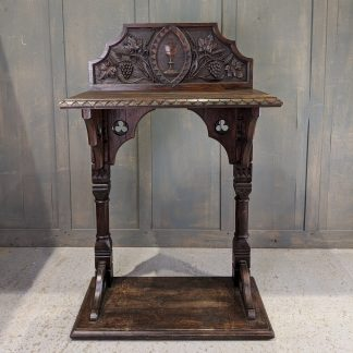 Unusual & Ornate Carved Antique Gothic Dark Oak Credence Table