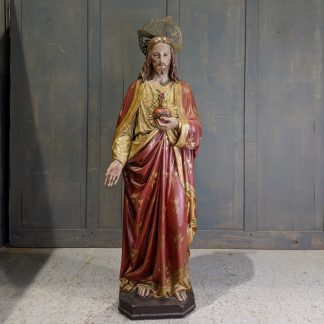 Best of the Best 1860 Antique Wood & Plaster Statue of Jesus the Sacred Heart
