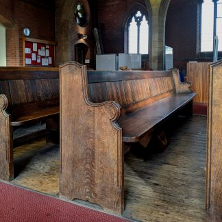 St Judes, Nottingham Antique Oak Shaped End Church Chapel Pews - Type 1