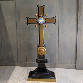 Outsize Imposing Ebonised Teak, Brass & Enamel Antique Altar Cross