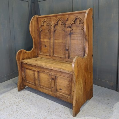 Simple Gothic Pine Monks Bench with Three Lancet Cutaway Panels