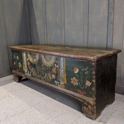 Antique Rustic Handpainted Austro-Hungarian Pine Dowry Chest