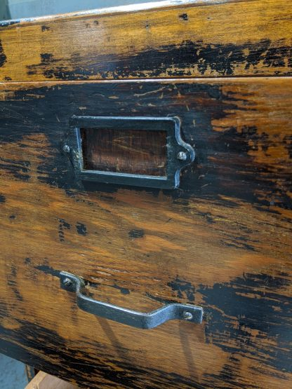 Vintage London County Council WW2 1943 Wood & Ply Distressed Filing Cabinet