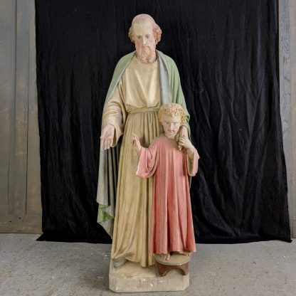 Large Antique French Statue of St Joseph & the Child Jesus