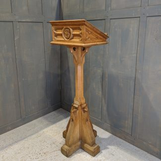 Heavy and Well Made Vintage Gothic Solid Oak Pedestal Reading Lectern