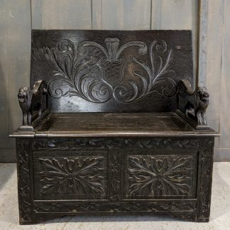 Splendid Carved Dark Oak Antique Monks Bench with Lion Armrests