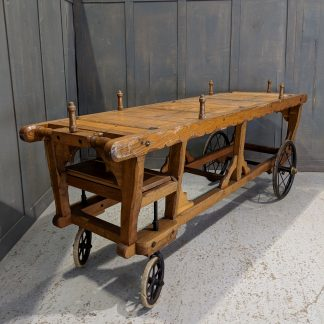 Remarkably Preserved Antique Victorian Solid Oak Steerable Coffin Bier Catafalque Trolley Hearse