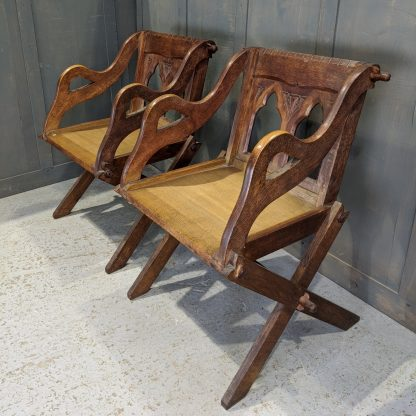 Pair of Trinity URC Oak Period Ministers Chairs